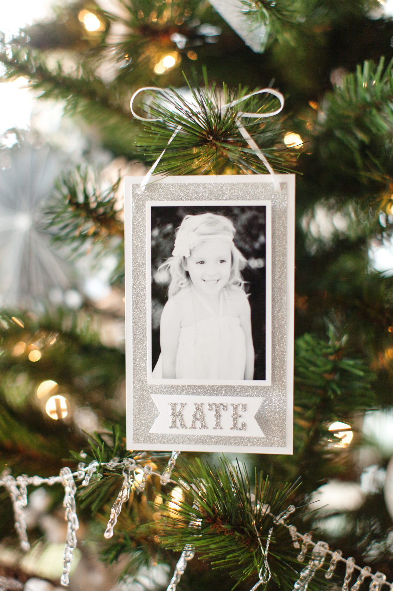 black and white photo ornament