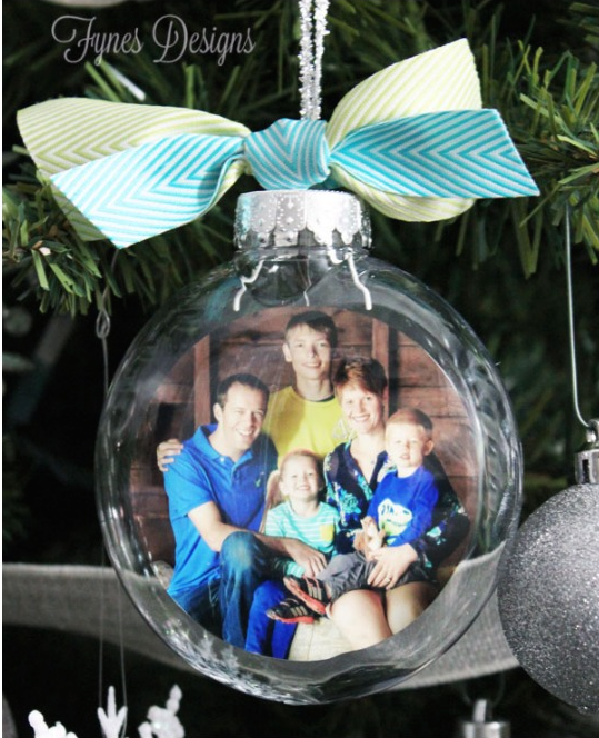 glass photo ornament