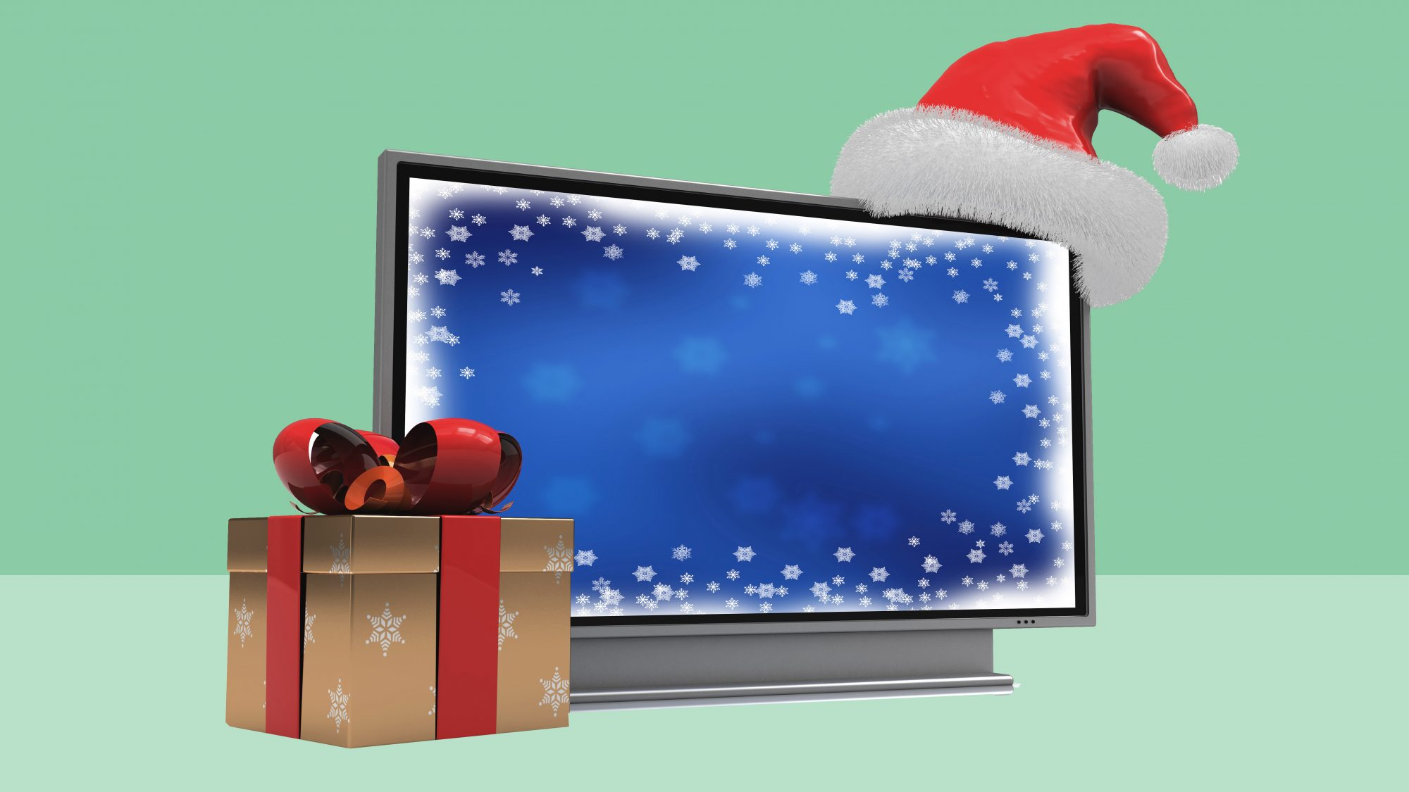 best-holiday-movies: tv screen with gifts next to it