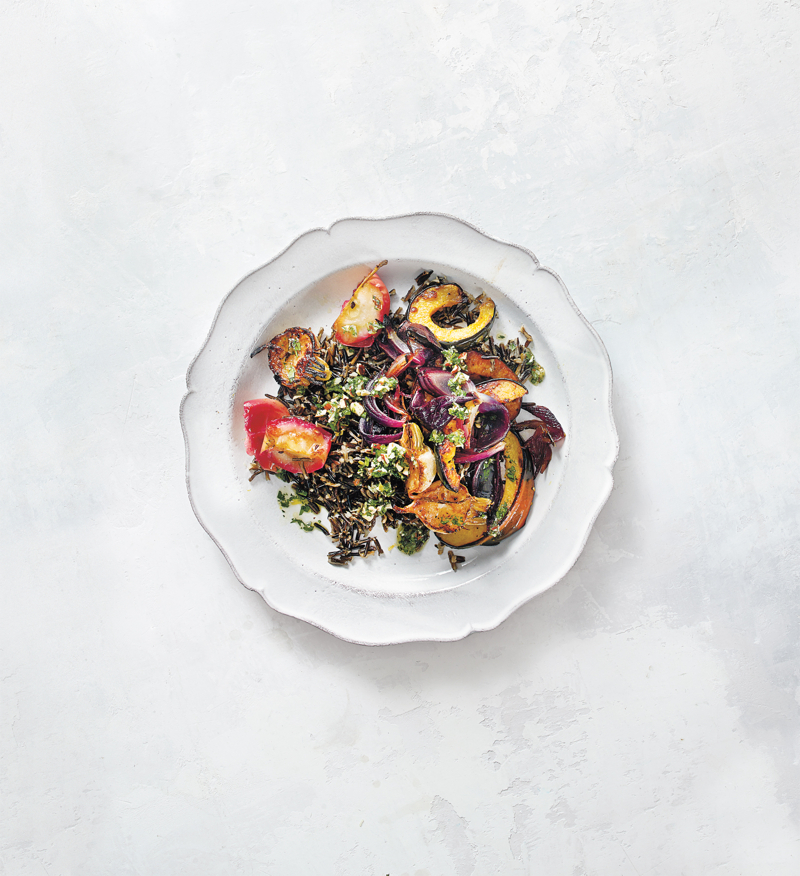 Roasted Vegetable and Wild Rice Salad with Almond-Parsley Sauce