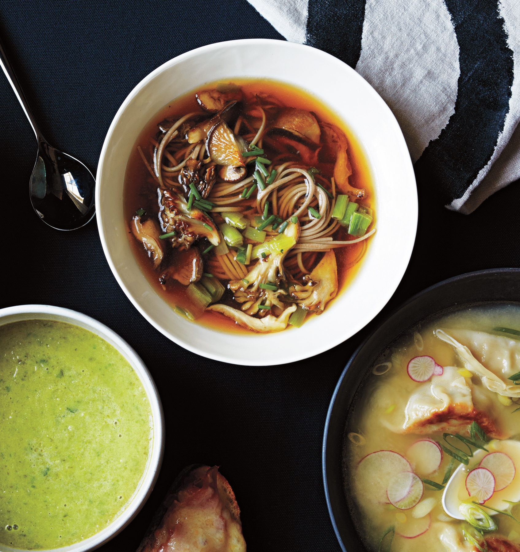 Mushroom and Leek Soup With Soba Noodles