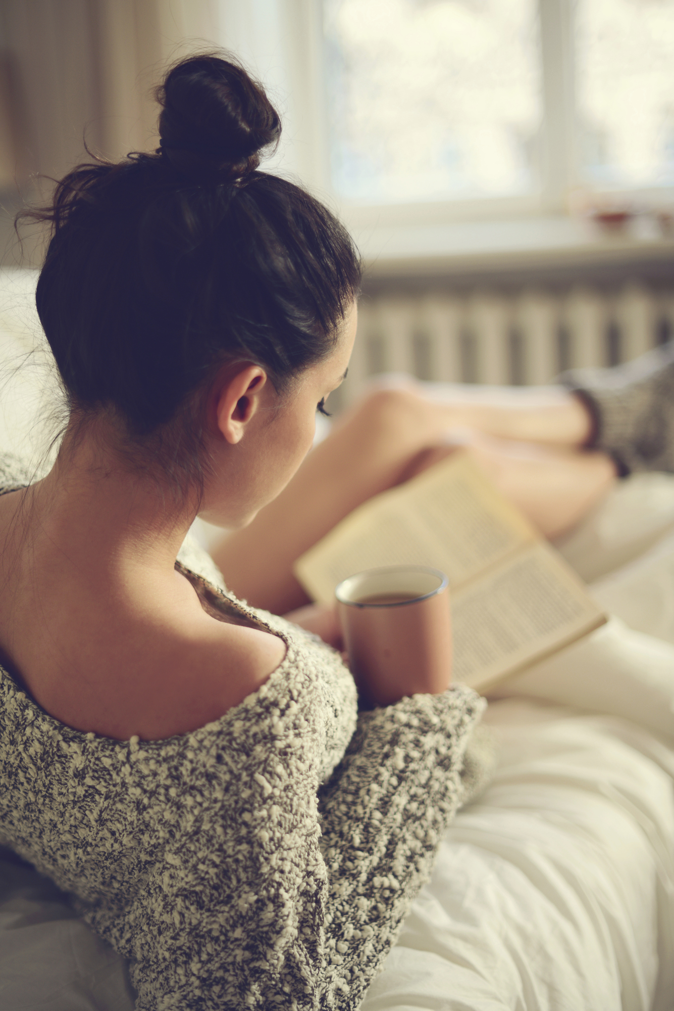 Woman relaxing reading