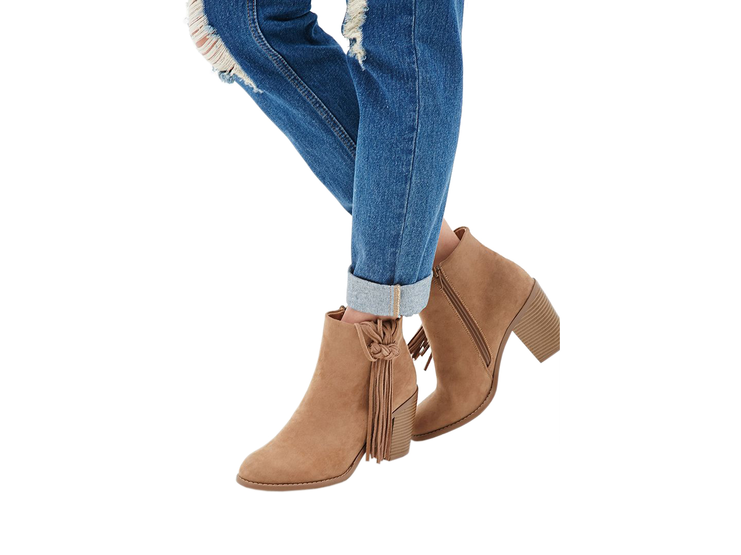 Forever 21 Fringed Faux Suede Booties