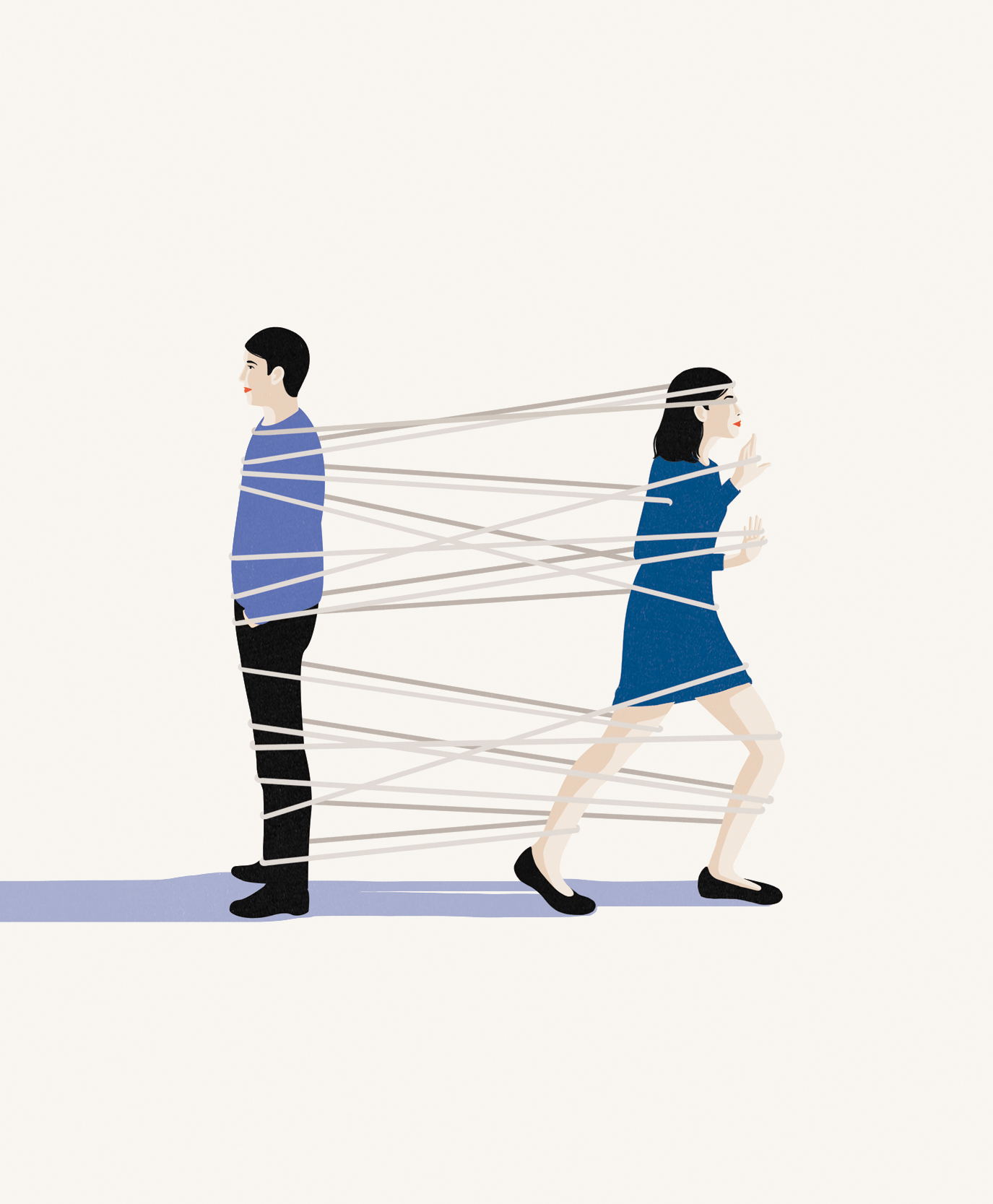 Illustration: Woman tied to ex boyfriend
