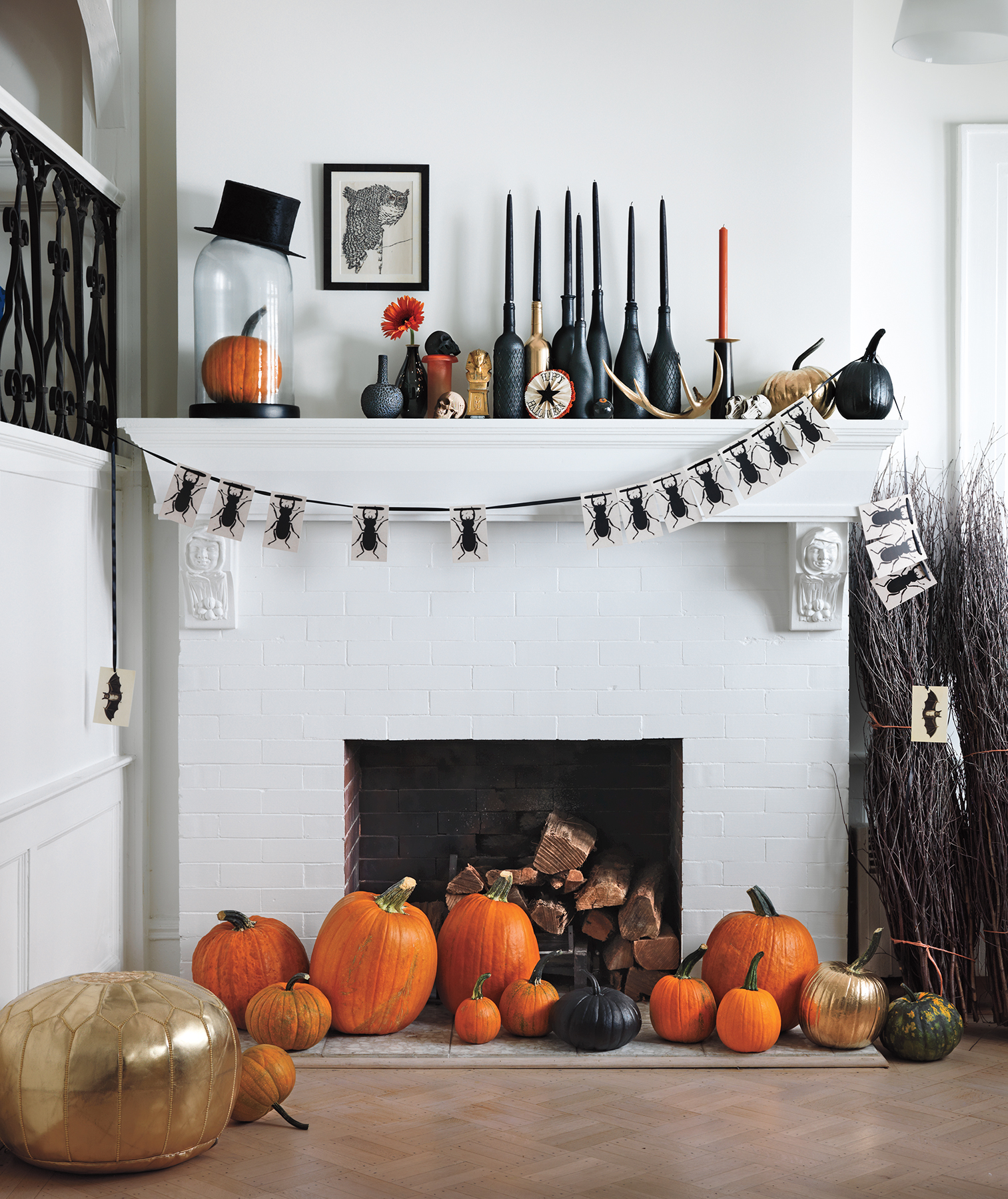 Hearth decorated for Halloween