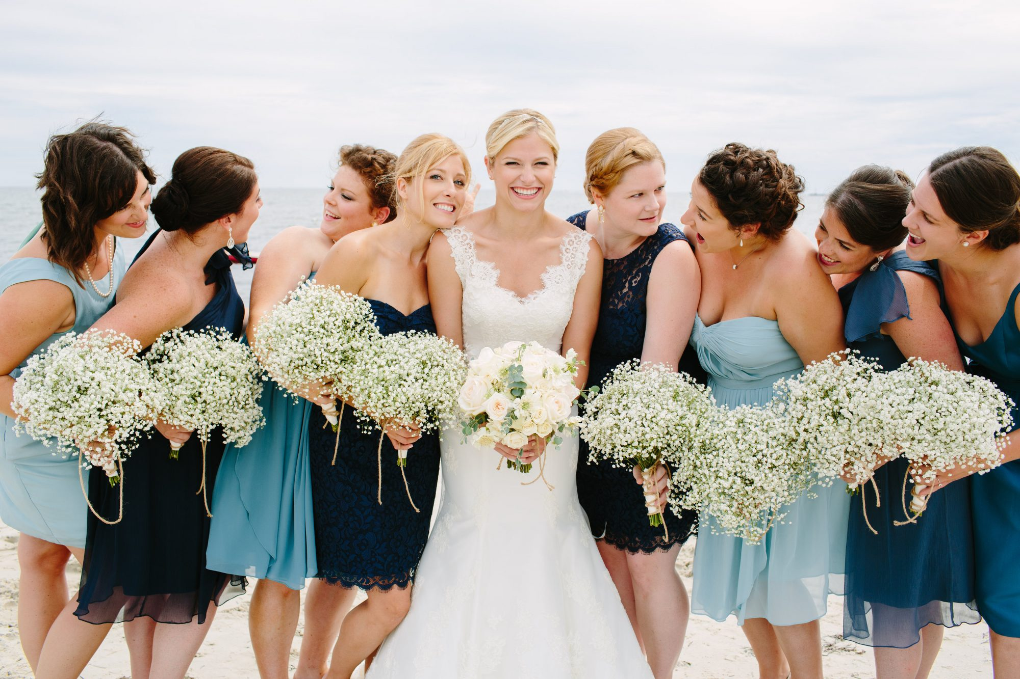 Bridal party wearing mix and match dresses