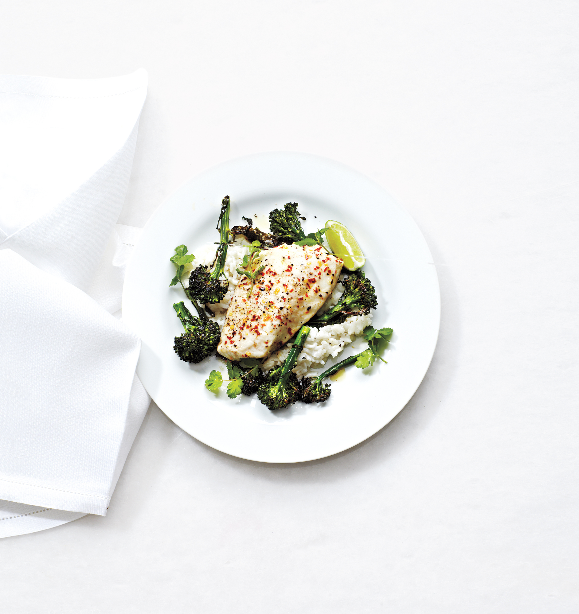 Roasted Broccolini and Bass Over Coconut Rice