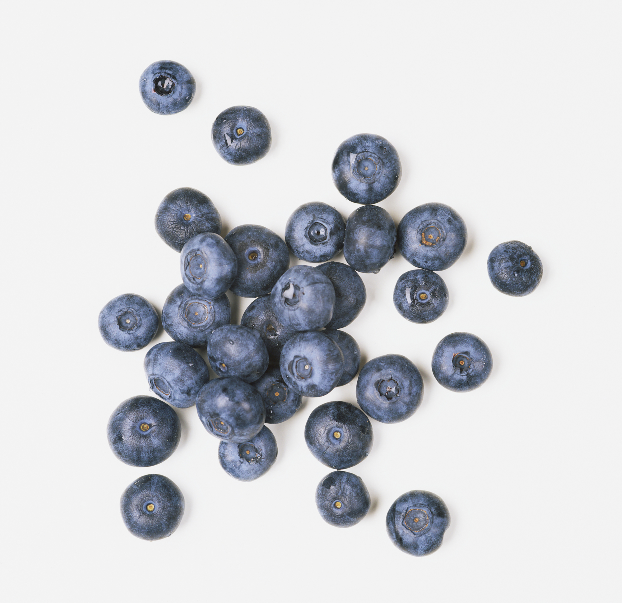 Pile of blueberries.