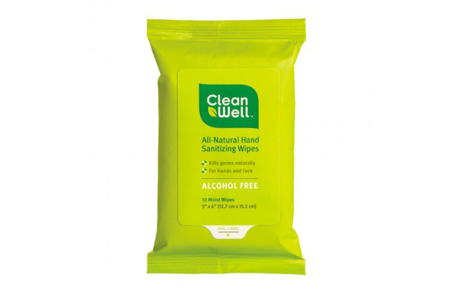CleanWell Natural Hand Sanitizing Wipes