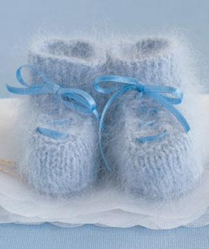 Blue knitted baby booties