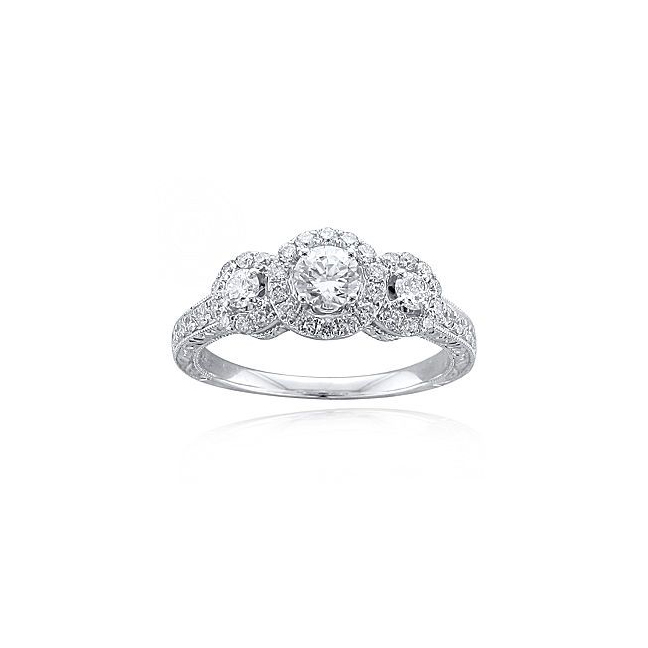 Modern Bride Signature Collection Vintage Style 3-Stone Bridal Ring