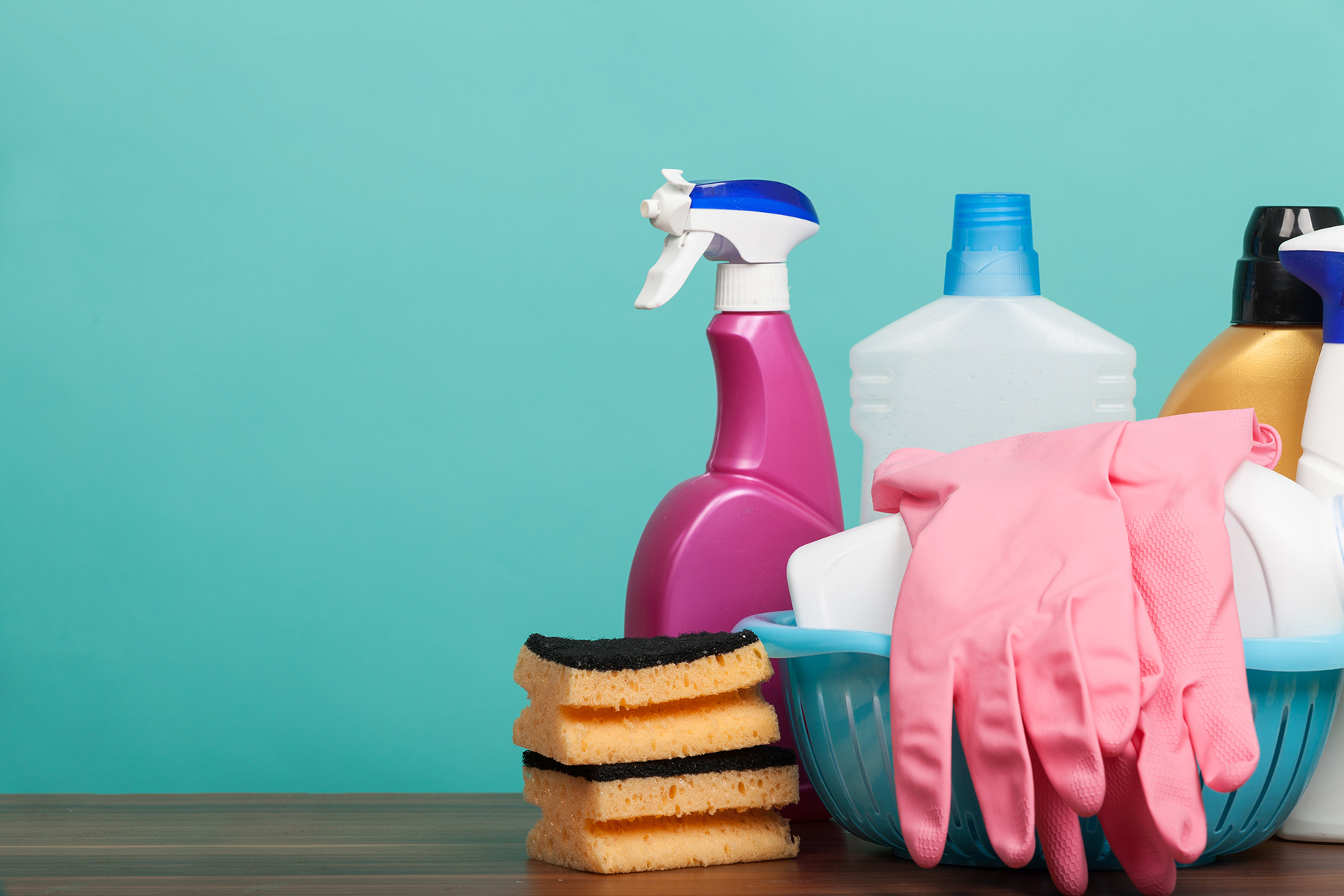 Cleaning supplies on table