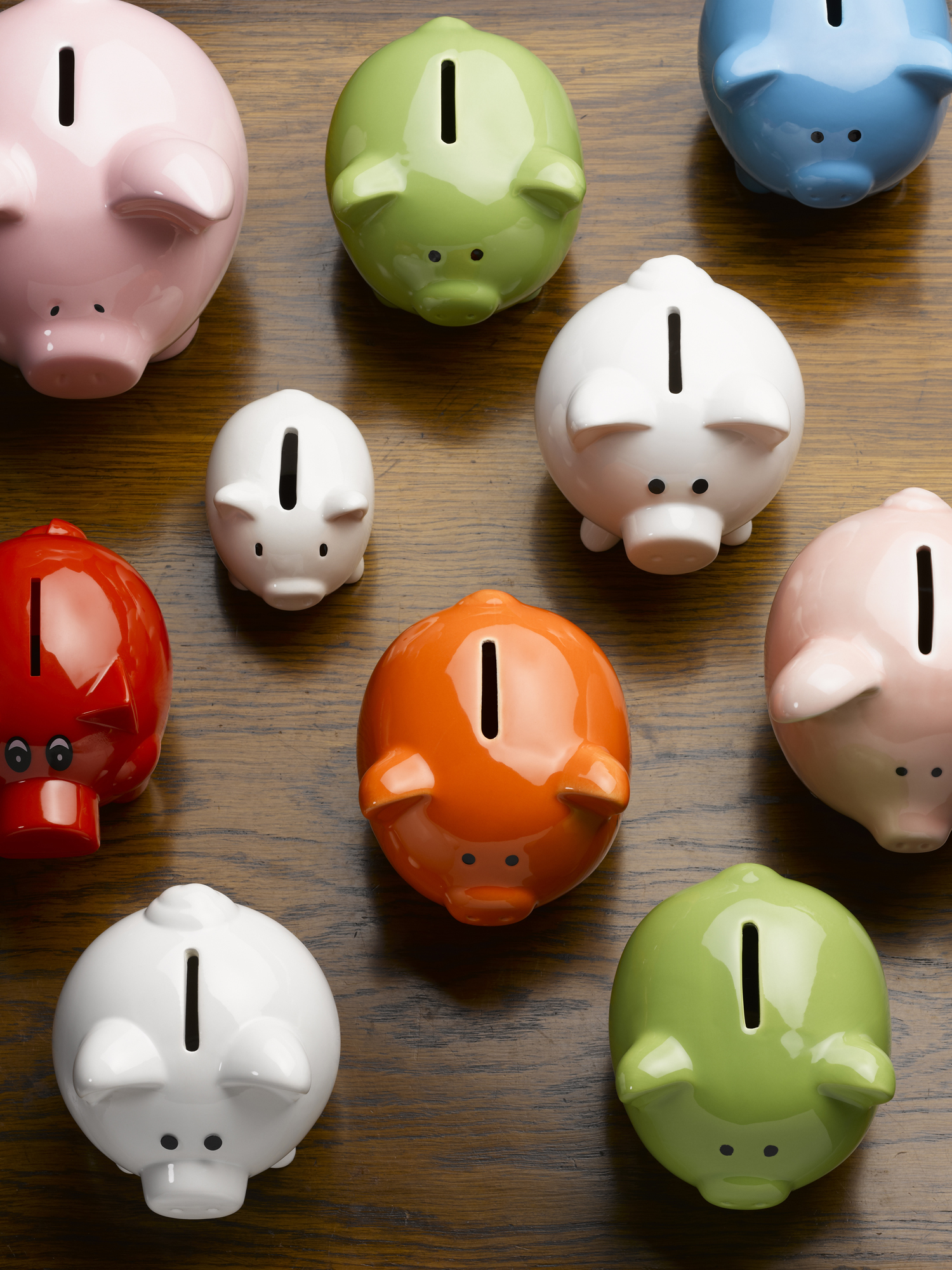 Multi-colored piggy banks