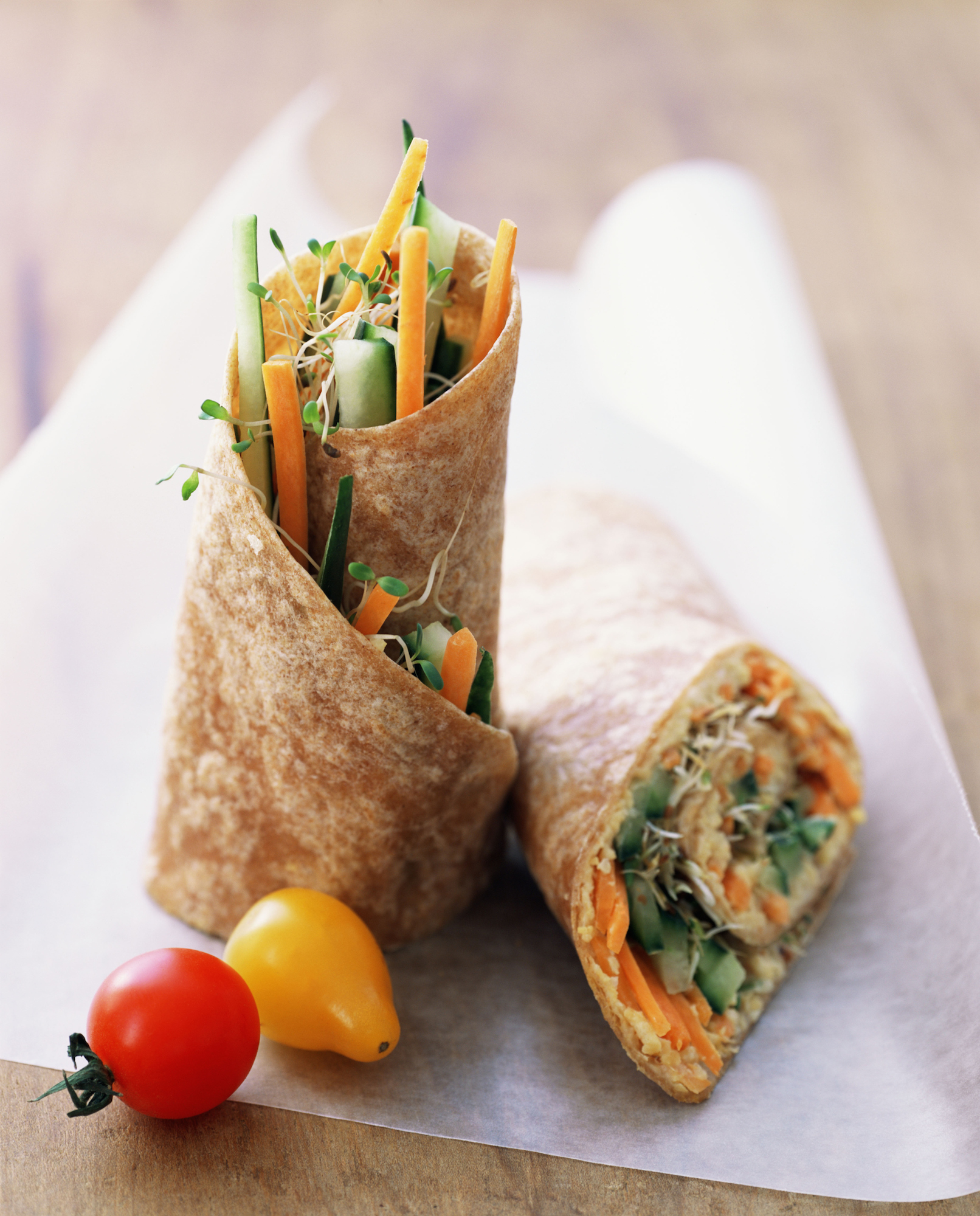 Wrap with vegetables and hummus