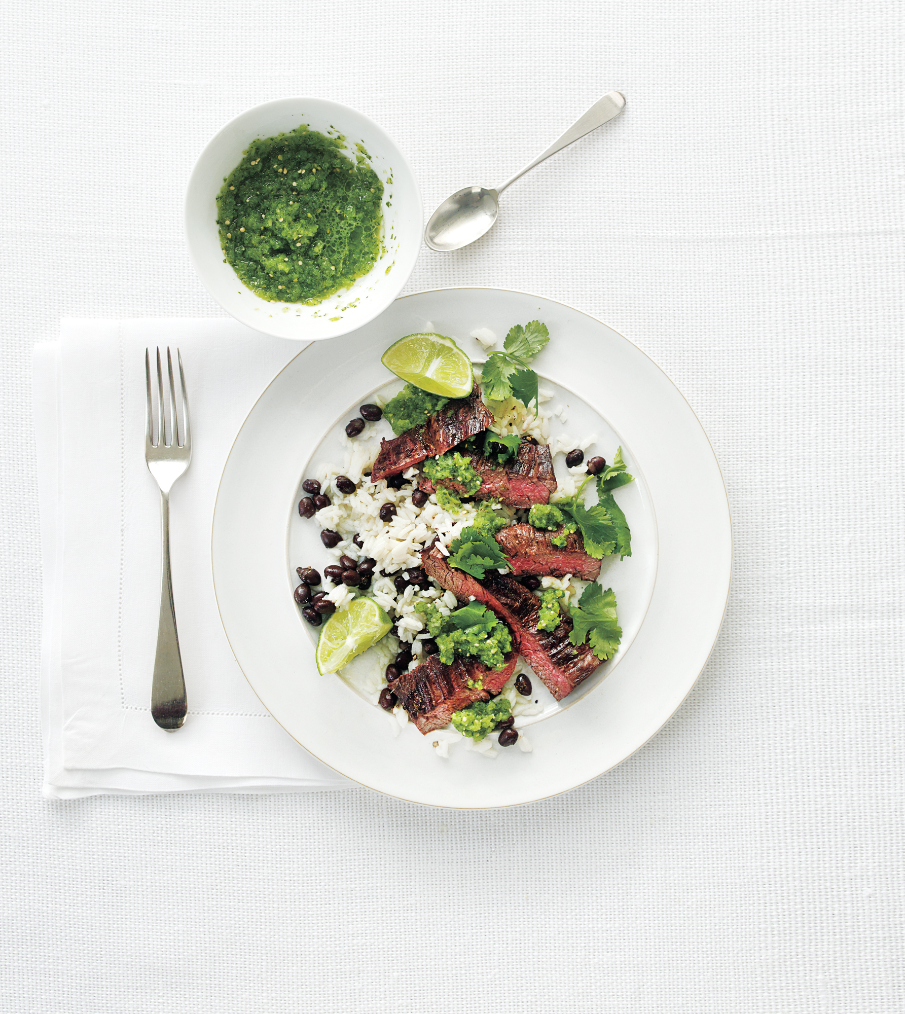 Rice and Beans With Steak and Fresh Tomatillo Salsa