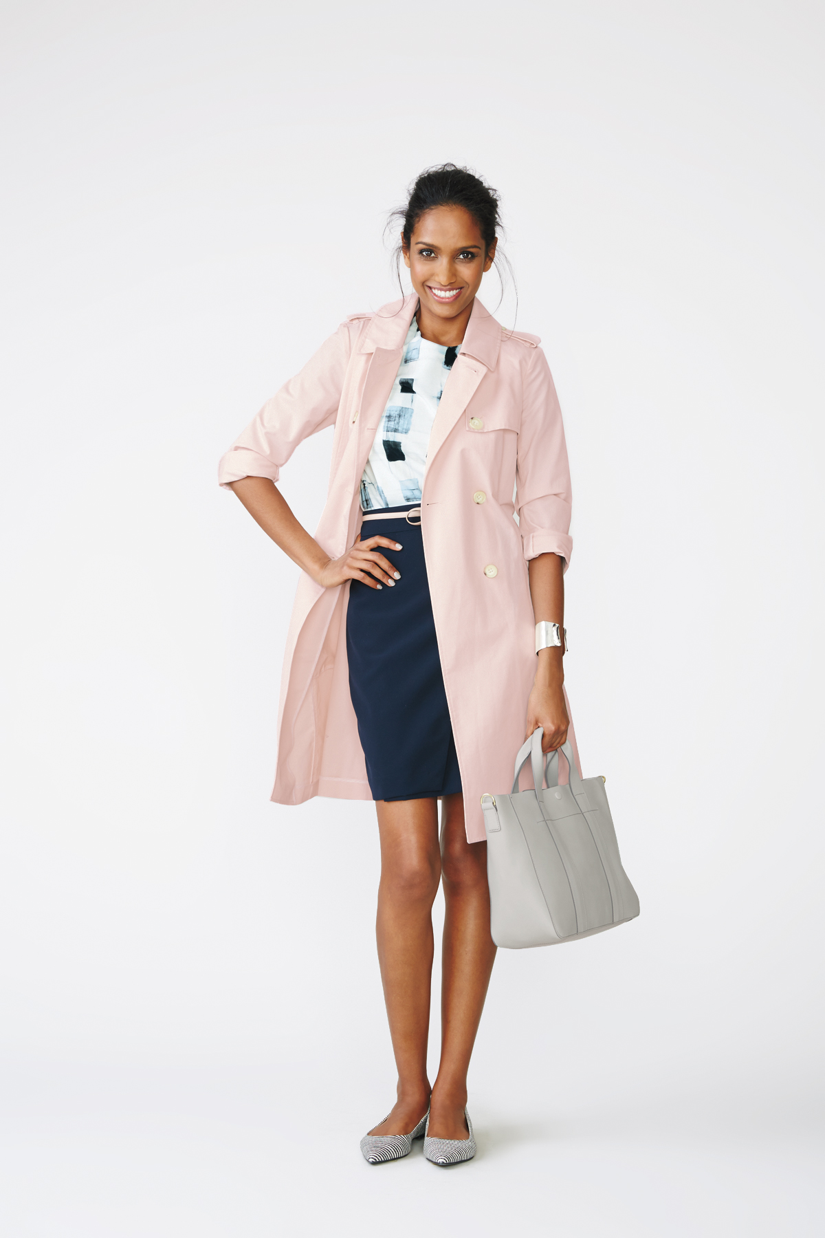 Trench + Printed Top + Pencil Skirt + Flats