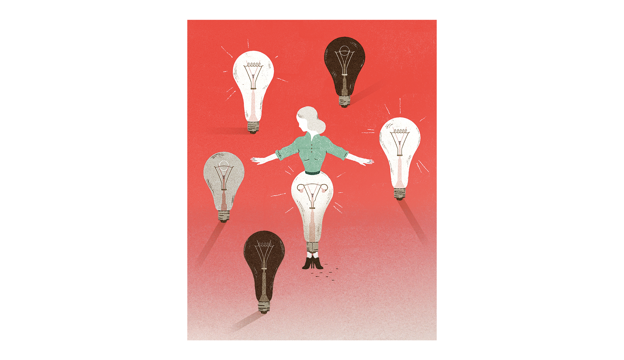 Illustration of a woman and light bulbs
