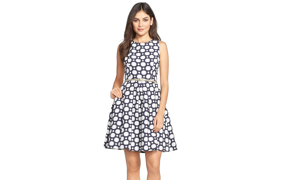 Eliza J Belted Jacquard Fit & Flare Dress