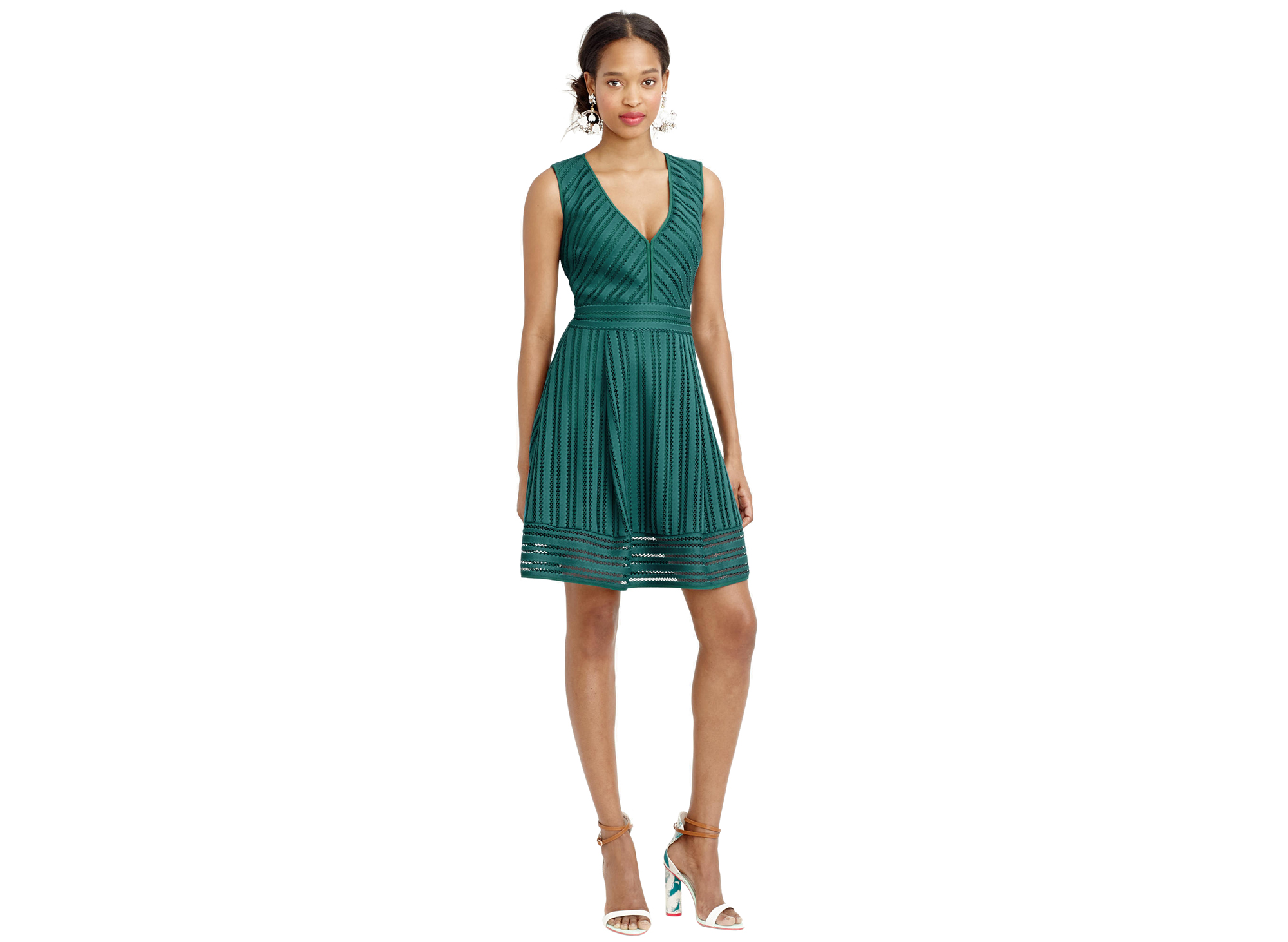 J.Crew Striped Eyelet Dress green