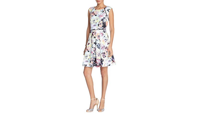 Tahari Floral Print Fit-and-Flare Dress