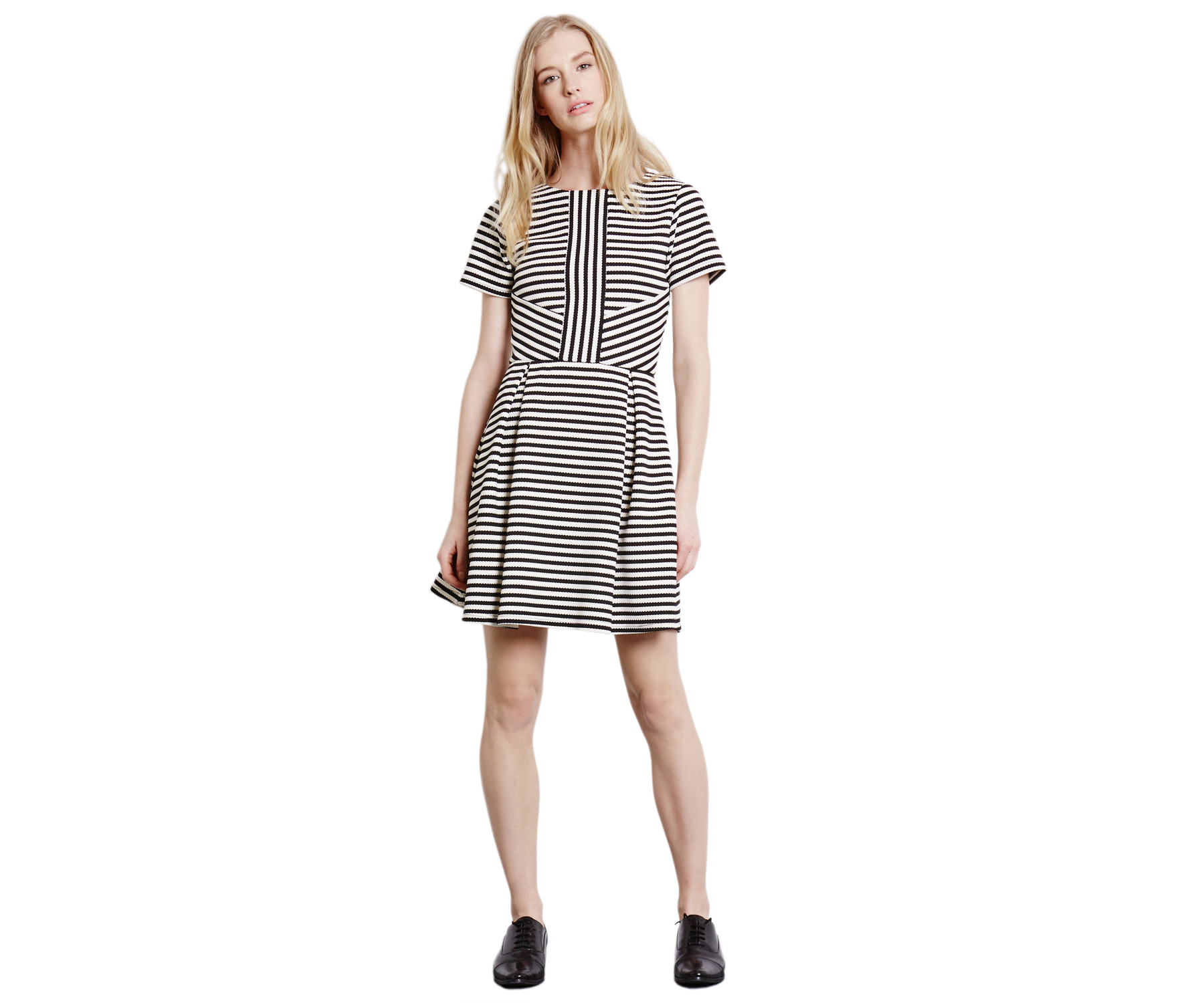 Warehouse Stripe Fit-and-Flare Dress