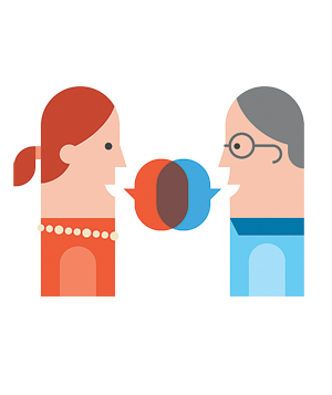 Illustration of man and woman talking