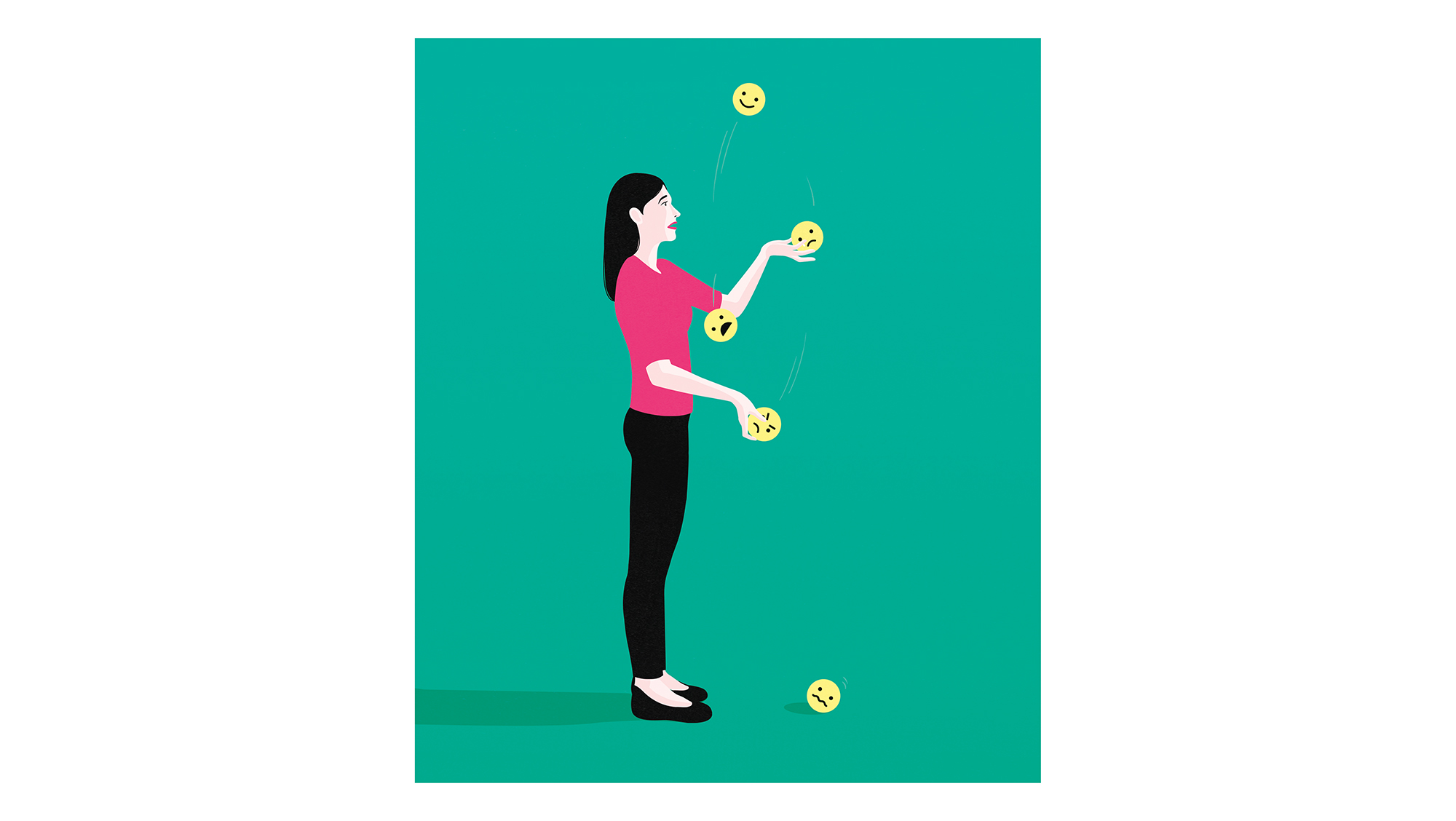 Illustration: woman juggling emojis