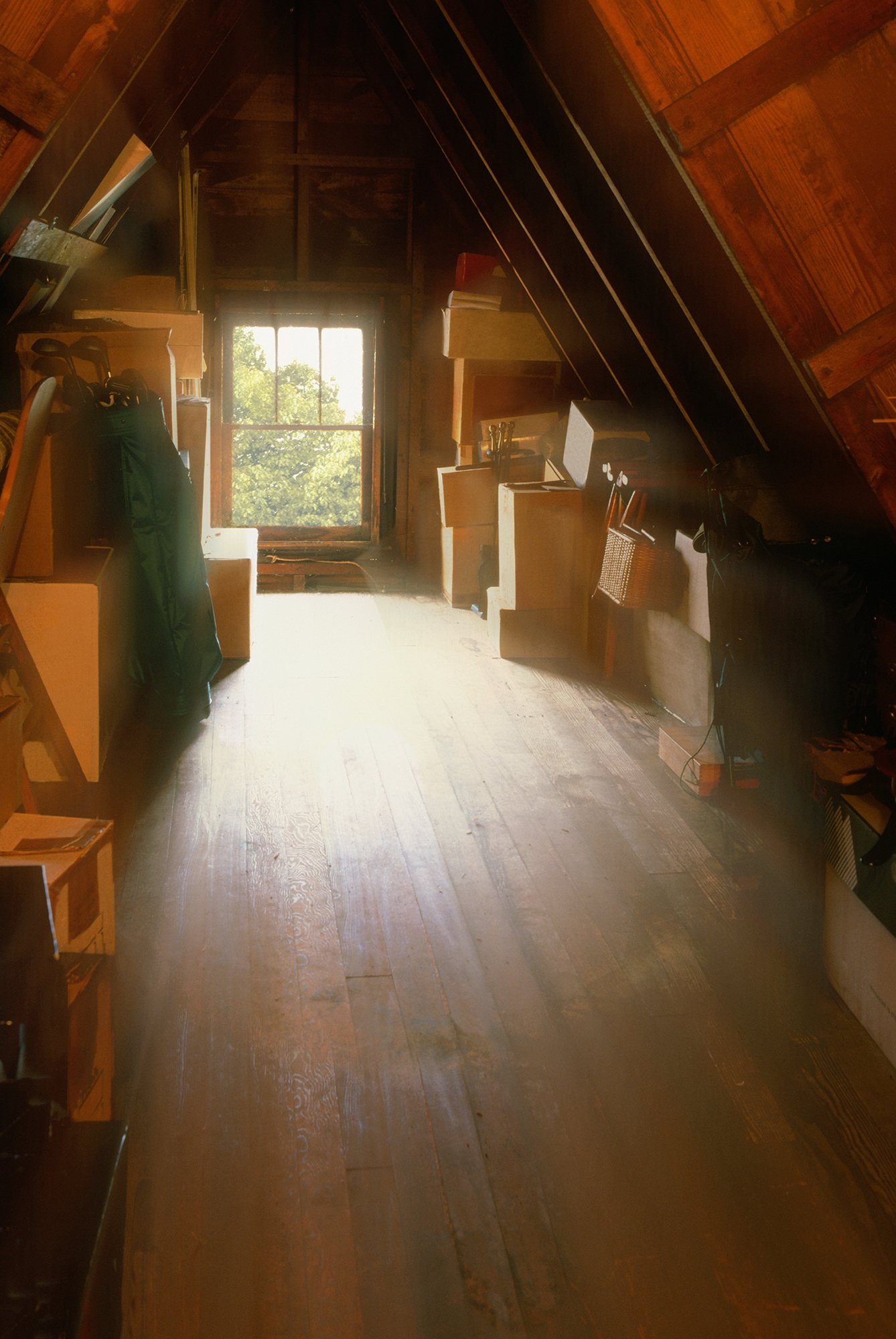 Attic with boxes
