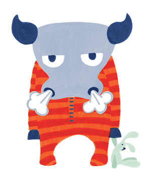 Illustration of angry bull in pajamas