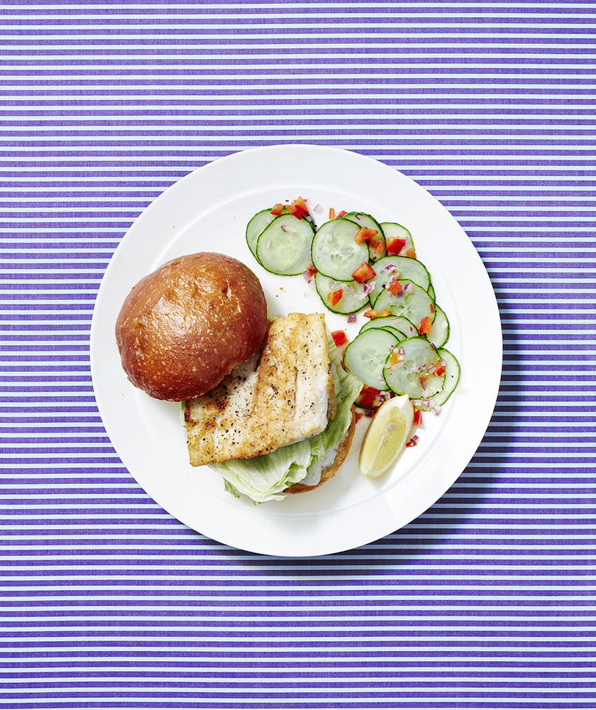 Fish Sandwiches With Cucumber and Pepper Salad