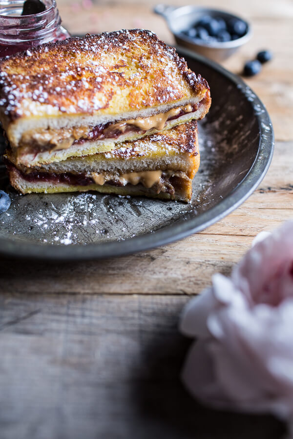 Peanut Butter and Rhubarb Jelly Hot French Toast Sammie