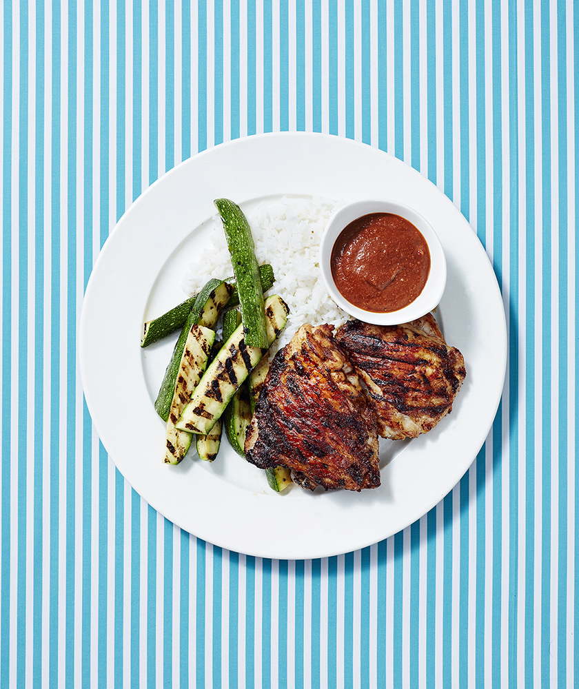 Grilled Chicken Mole with Zucchini