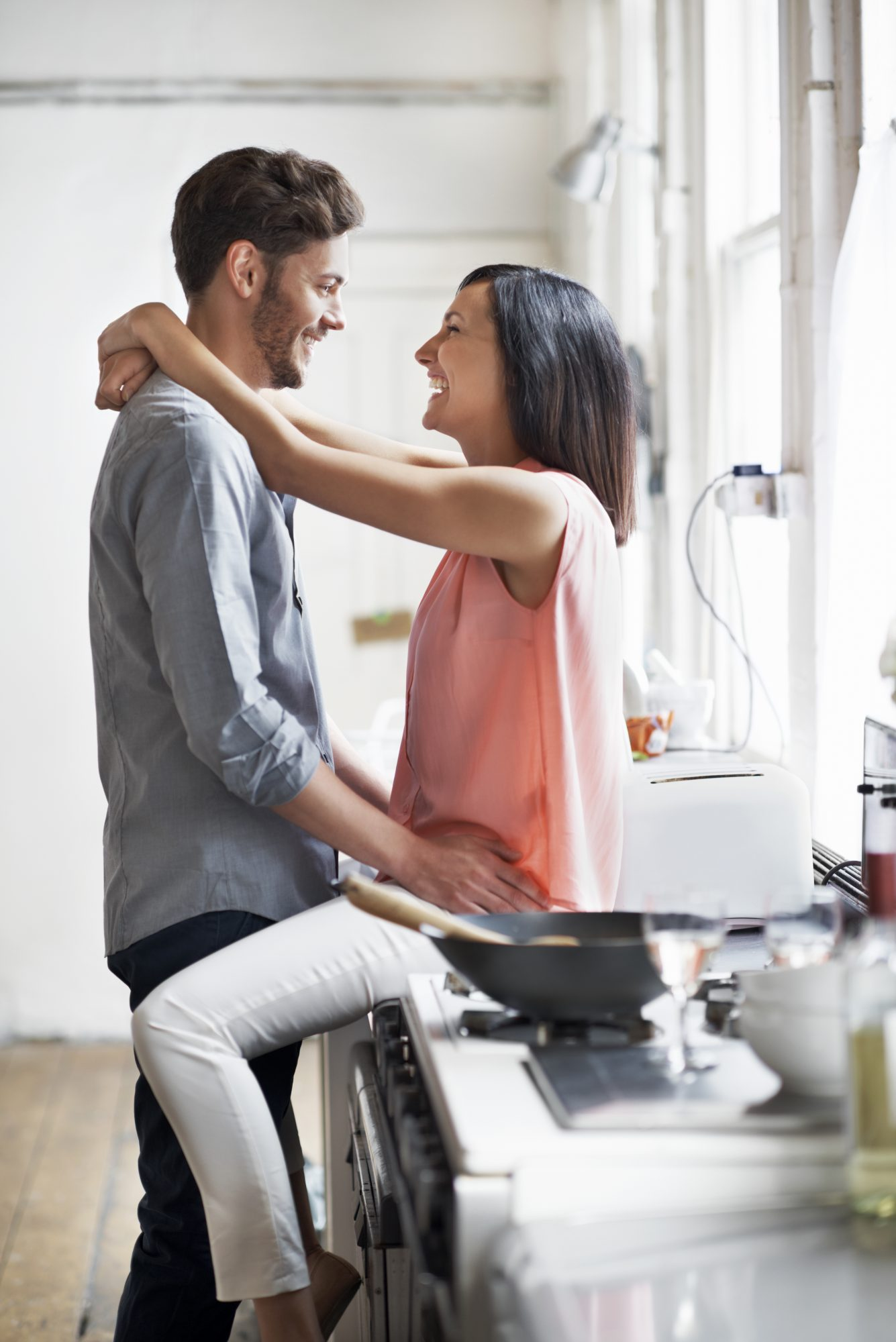 Couple having fun while cooking