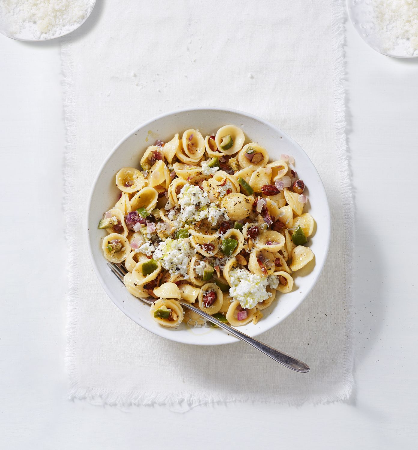 Orecchiette with Red Onions, Almonds, and Green Olives