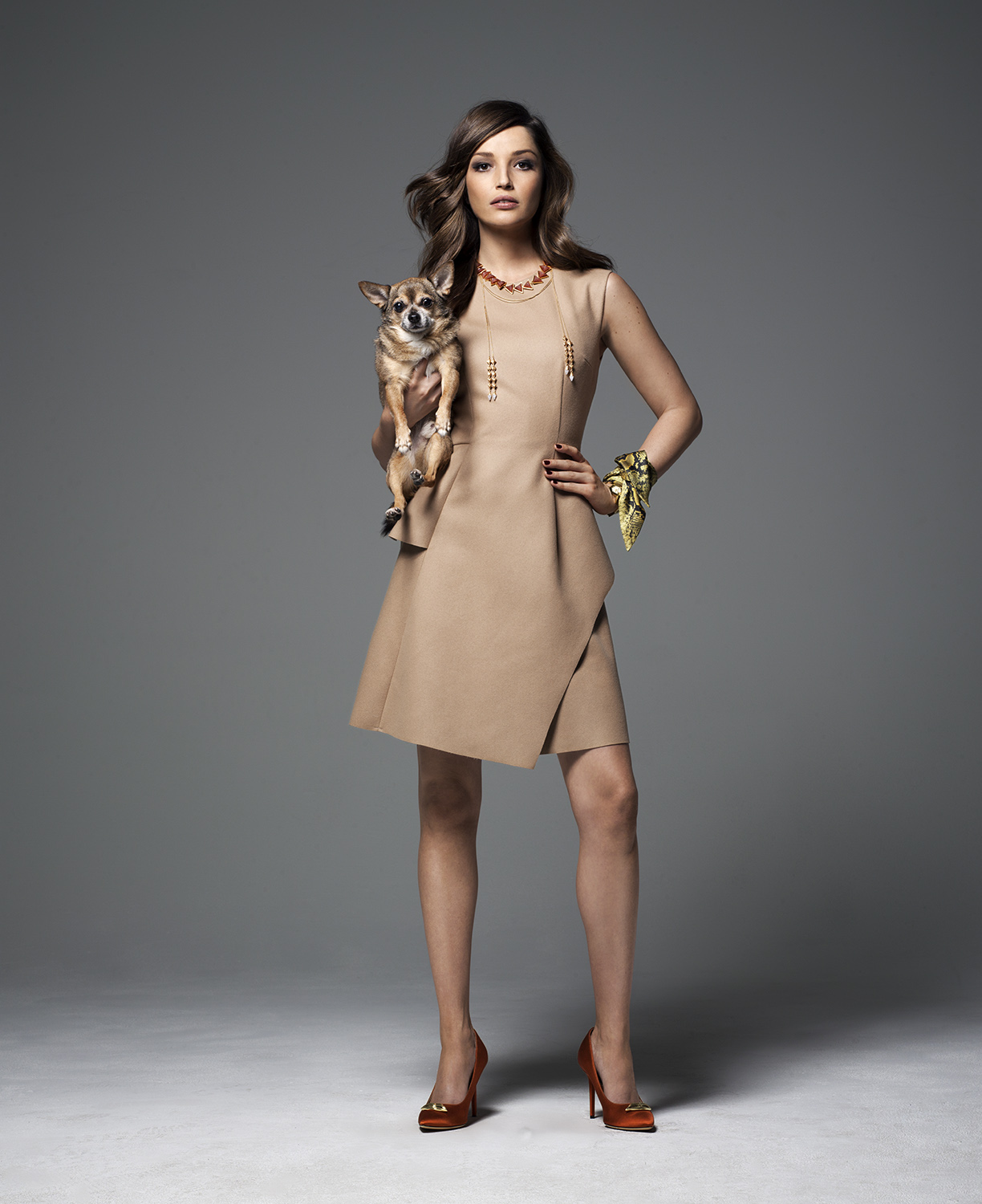 Model wearing tan dress and holding a dog