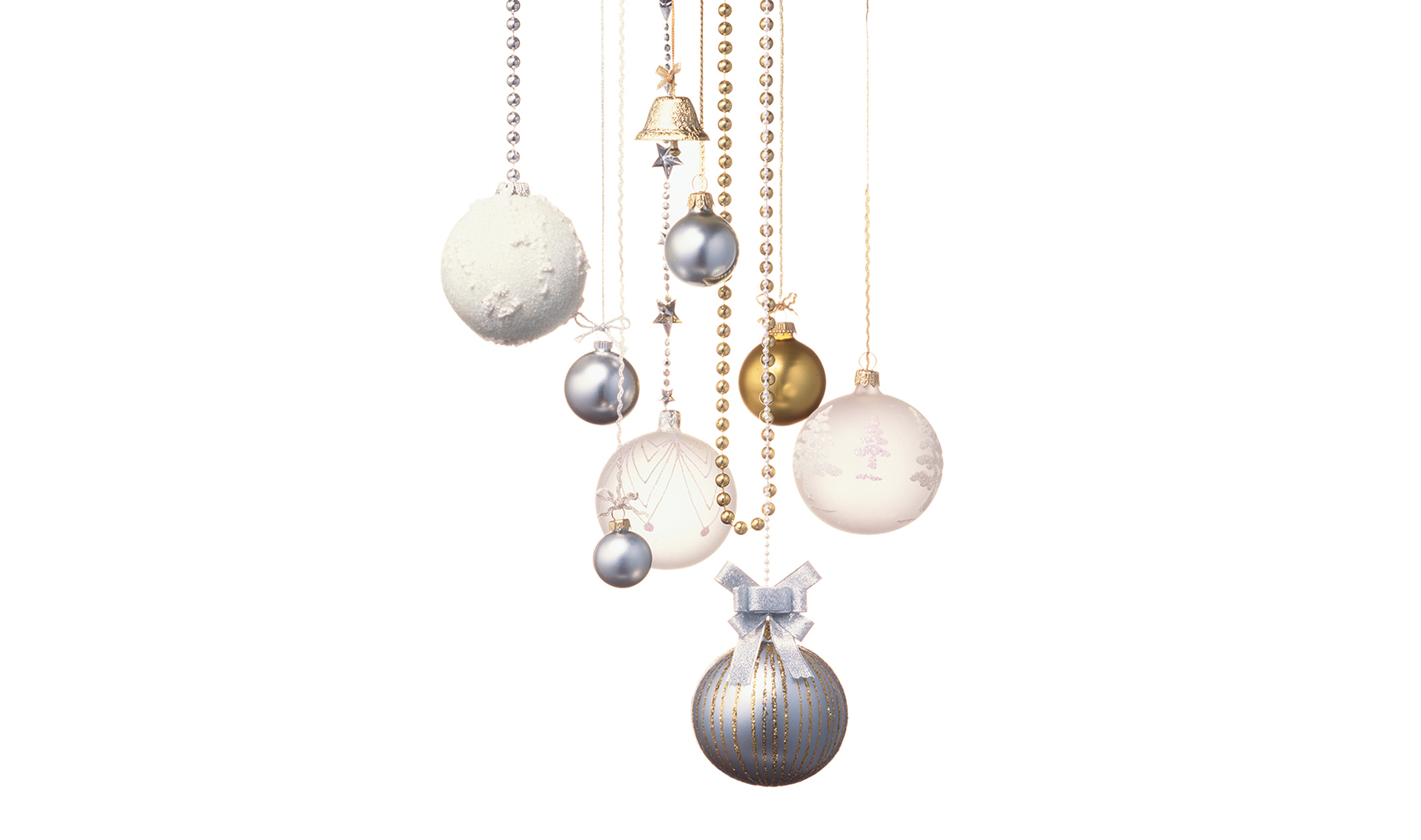 Gold and silver holiday ornaments