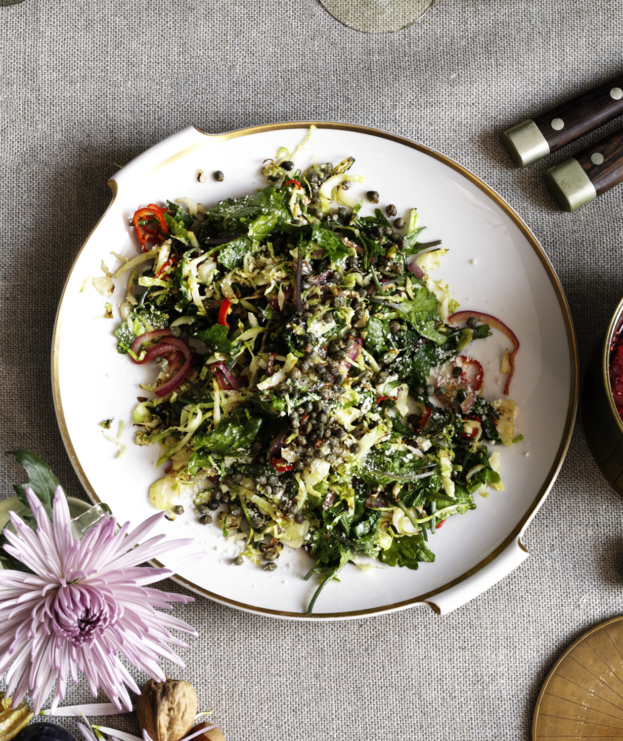 Caramelized Brussels Sprouts and Kale With Crispy Capers