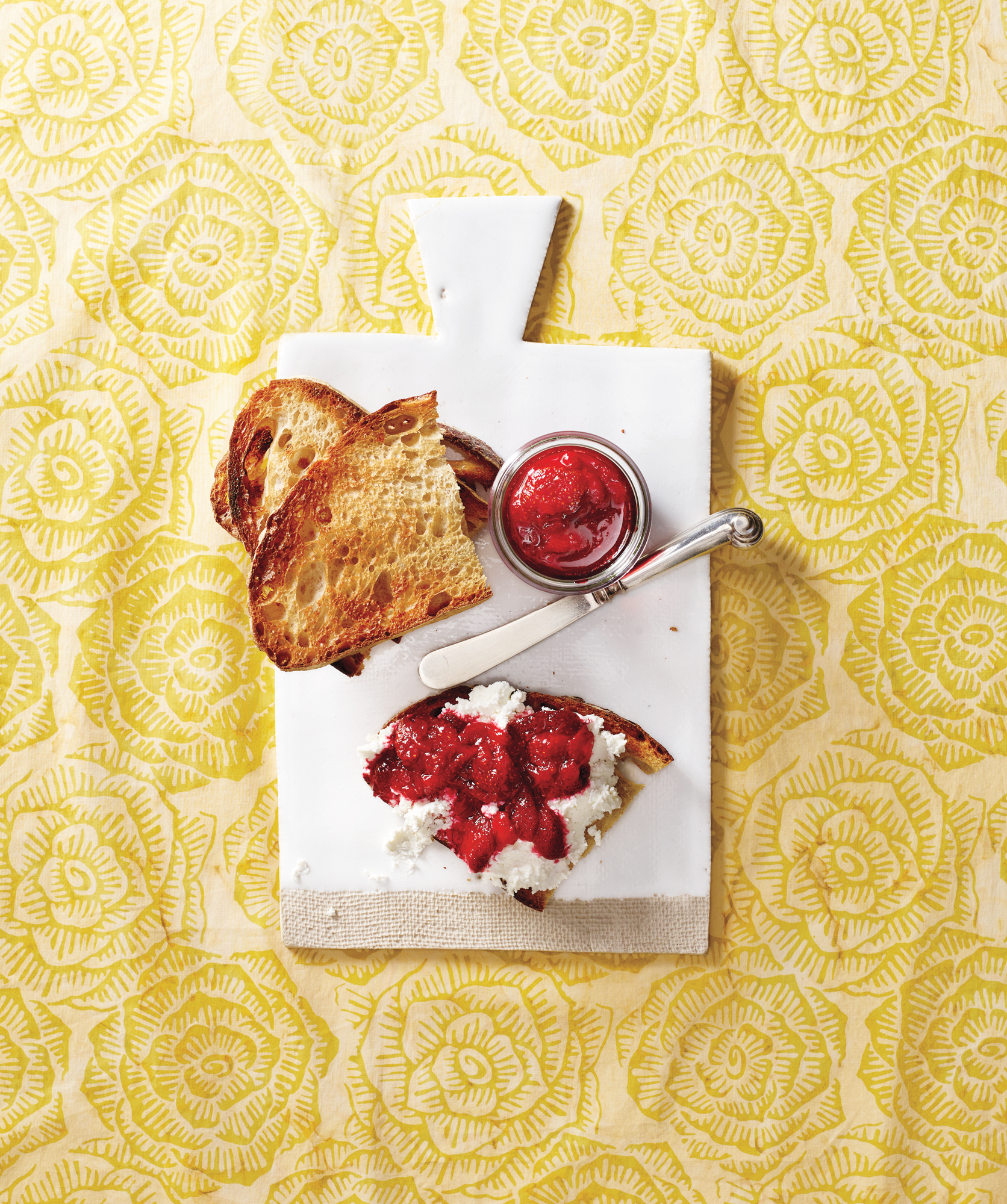 Sourdough Toast With Strawberry Quick Jam and Ricotta