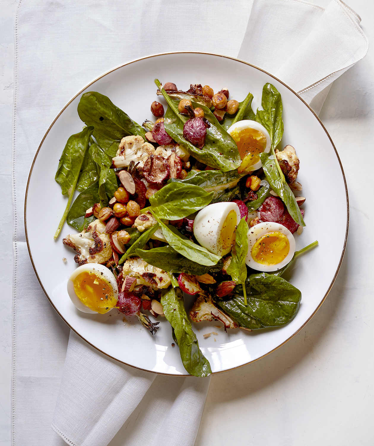 Roasted Cauliflower and Radish Salad with Soft-Cooked Eggs