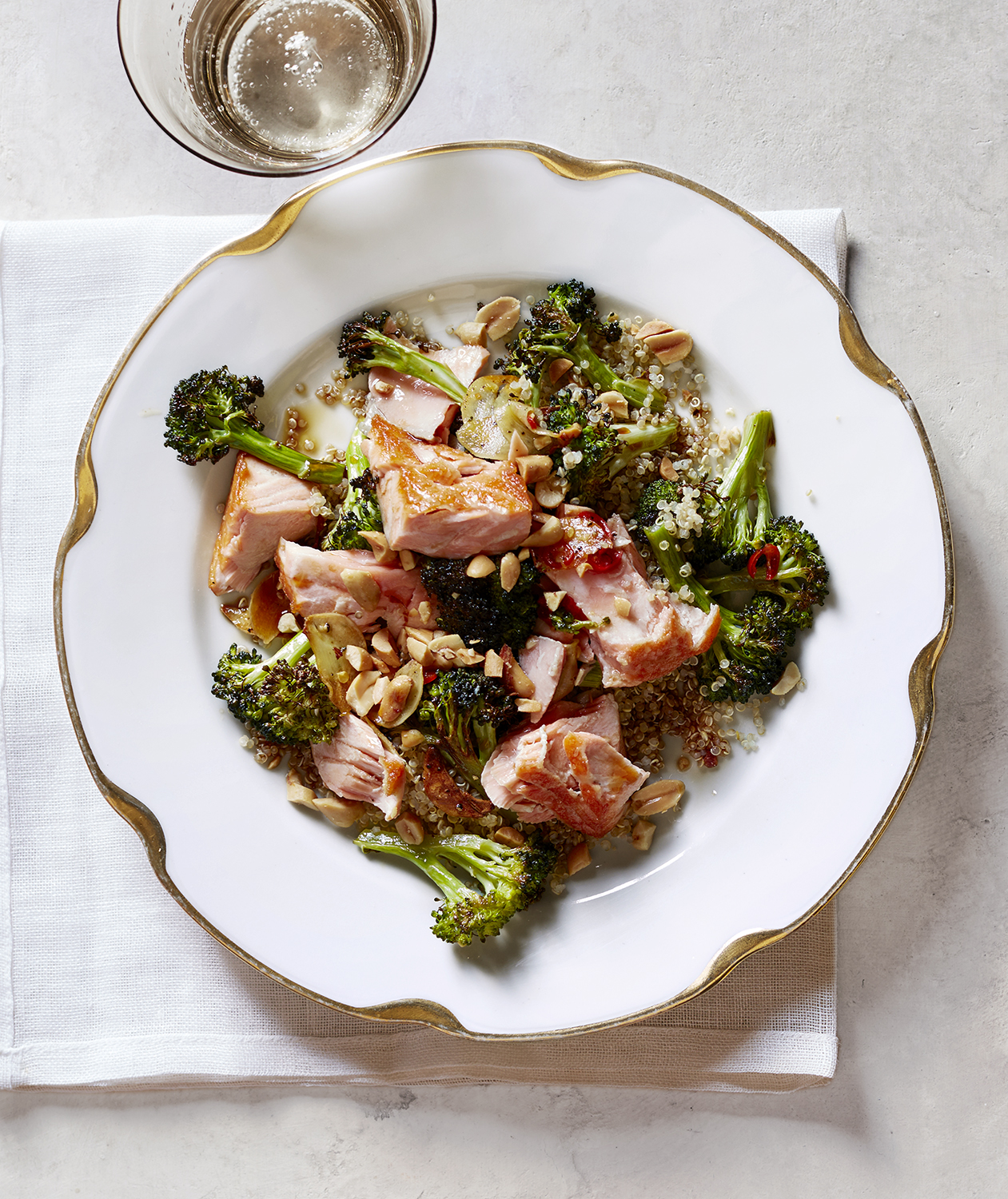 Roasted Salmon with Crispy Broccoli and Quinoa