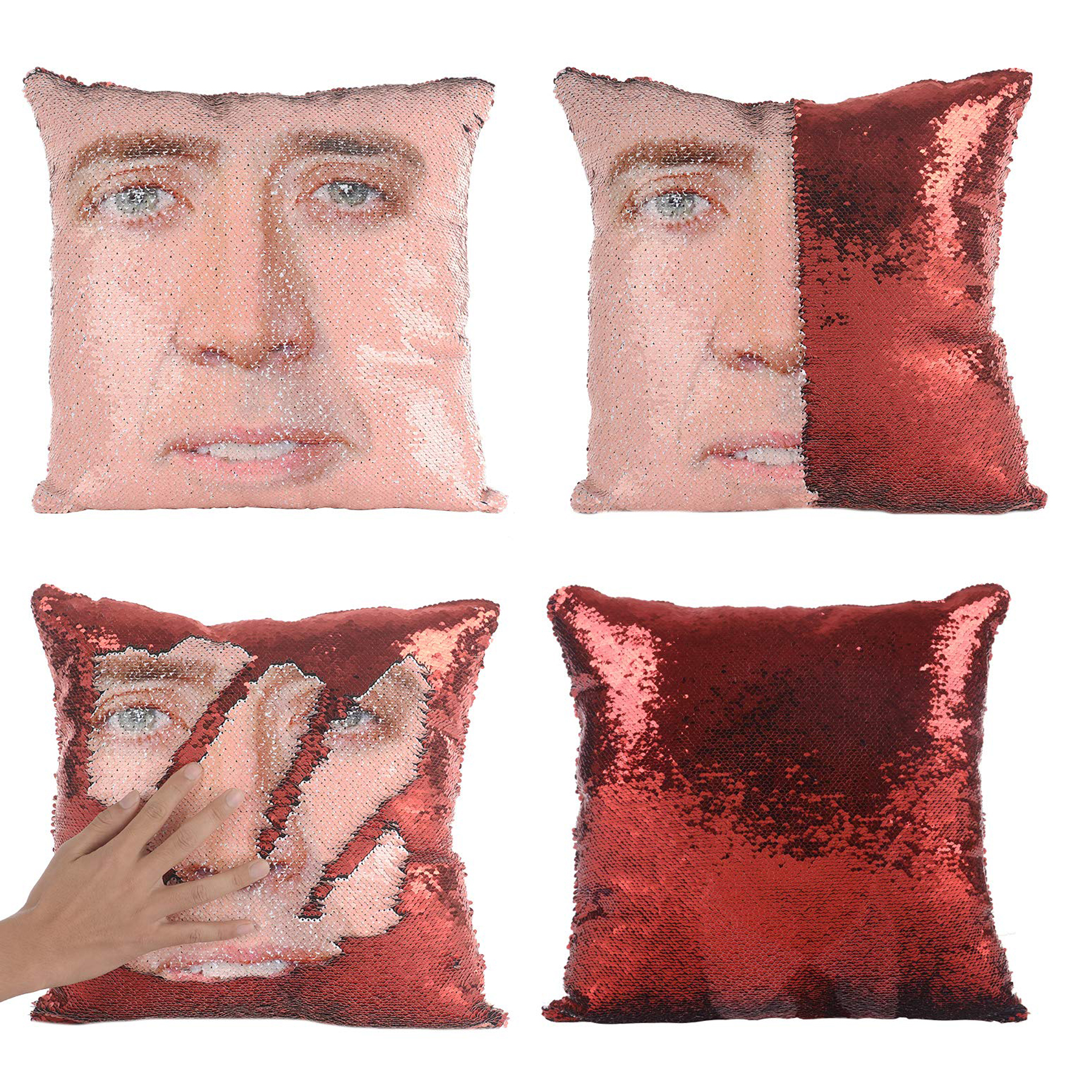 Funny gifts for men - Nicolas Cage Magic Reversible Sequin Pillow Cover