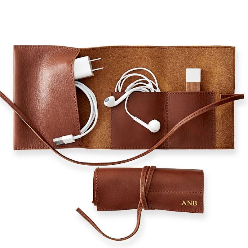 Personalized Leather Charger Roll Up