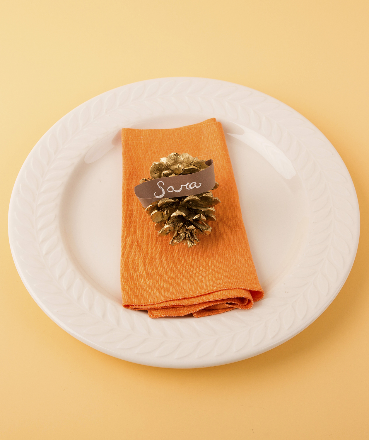 Gold Pinecone Place Card Holder