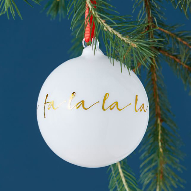 Mark and Graham festive phrase white Christmas ornaments painted with gold foil