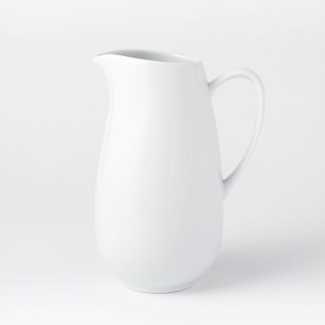 West Elm Organic Shaped Pitcher in white porcelain
