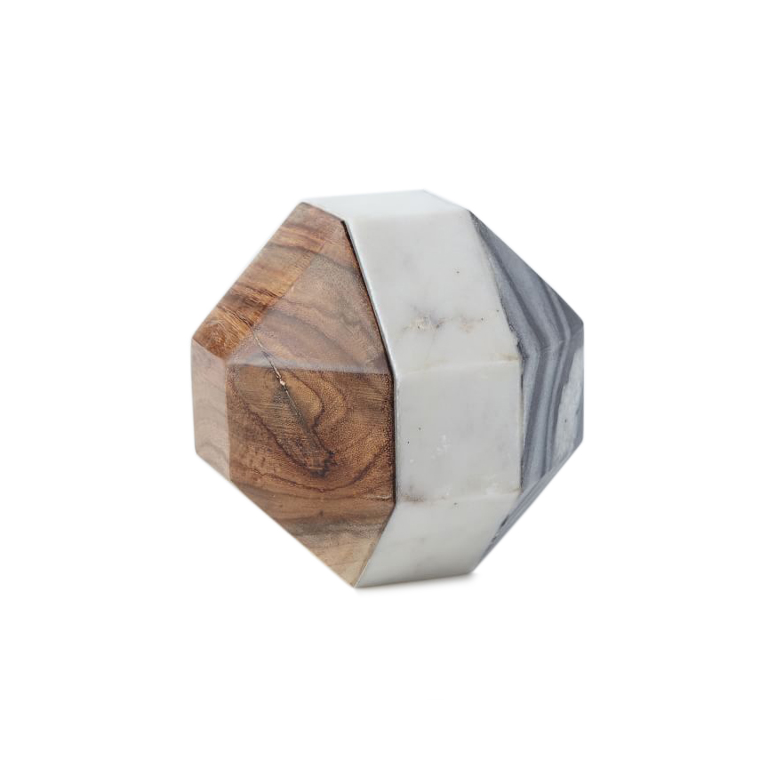 Marble + Wood Geometric Objects