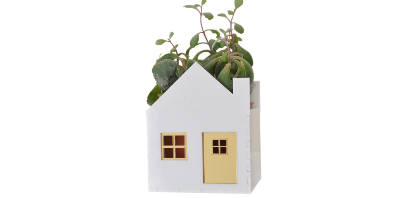 White and Gold Little House Planter