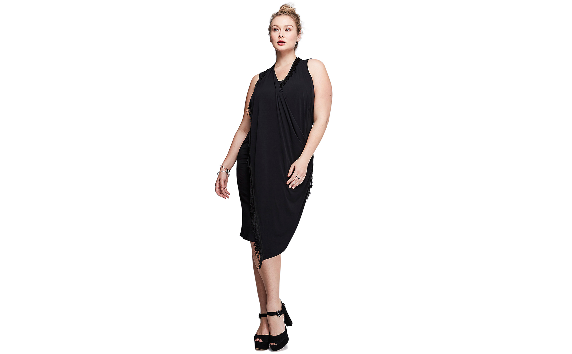 Lane Bryant Fringe Draped Dress