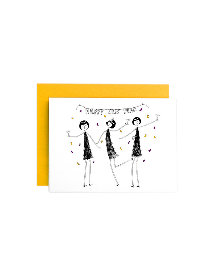 Happy New Year Flapper Card