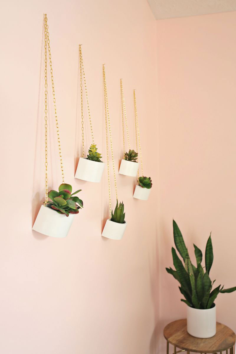 Gold Chain Hanging Planters